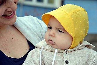 Detské čiapky - Ultraľahký čepček batist & žltá - 9483695_