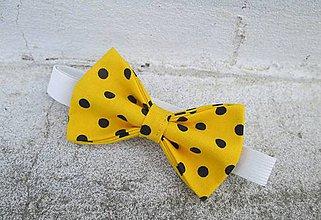Detské doplnky - Detský motýlik žltý s čiernou bodkou - 9480834_