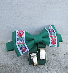 Doplnky - Traky a motýlik folk zelená - 9481249_