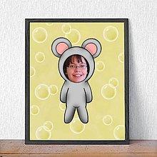 Detské doplnky - Zvierací kostým - myš a bublinkové pozadie (grafika) - 9482070_