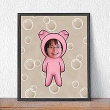 Detské doplnky - Zvierací kostým - prasiatko a bublinkové pozadie (grafika) - 9482080_