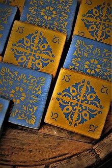 Pomôcky - Modro-horčicové drevené dlaždice - 9482876_