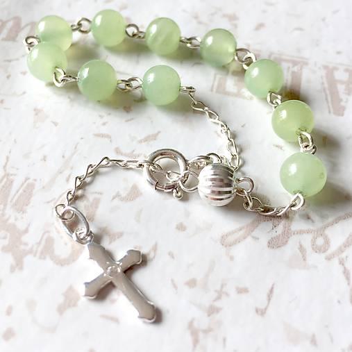 85e2f02c3 Rosary Silver AG925 Nephrite Bracelet / Strieborný ruženec na ruku alebo do  auta s nefritom /