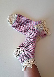 Obuv - Nežné ponožky- Romantika - 9485435_