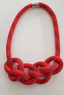 Náhrdelníky - Lano náhrdelník červené uzle - 9485594_