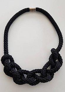 Náhrdelníky - Lano náhrdelník čierny - 9485606_