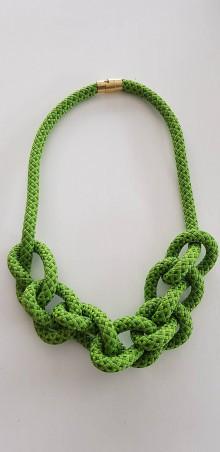 Náhrdelníky - Lano náhrdelník zelený - 9485714_