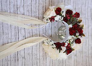 Ozdoby do vlasov - Krémová svadobná parta s červenými ružami - 9486684_