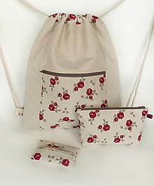 Batohy - Sada vintage batoh + taštička + puzdro - 9484994_