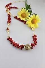 koral náhrdelník luxusný dlhý