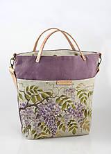 """Veľké tašky - Veľká ľanová dámska kabelka s ručnou maľbou """"Wistéria"""" - 9484990_"""