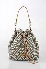 Kabelky - Veľká dámska kabelka z exkluzívnej modrošedej ľanovej látky