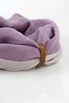 Šatky - Jemný obojstranný fialový nákrčník z ľanu - 9485144_