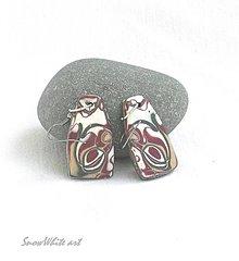 Náušnice - Abstraktné náušnice zemité - 9484013_