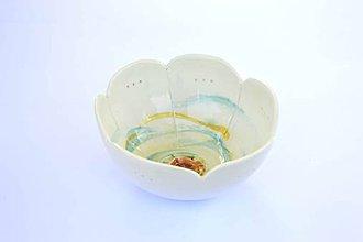 Nádoby - Porcelánová miska Tyrkysový kvietok - 9484908_