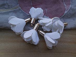 Polotovary - Textilné kvety - pár (viac druhov) (Biela) - 9484033_