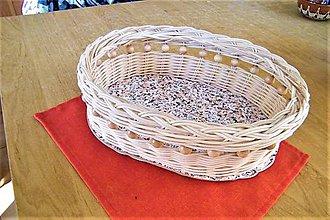 Košíky - Košík z pedigu- oválny 3 s korálkami - 9483916_