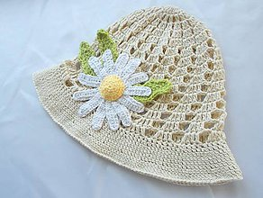 Detské čiapky - Prírodný klobúčik s margarétkou - 9486246_