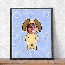 Detské doplnky - Zvierací kostým - psík a bublinkové pozadie (grafika) - 9486373_