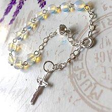 Náramky - Rosary Silver AG925 Opalite Bracelet / Strieborný ruženec na ruku alebo do auta s opalitom /0250 - 9487586_