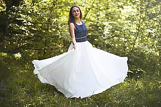 Šaty - Modrotlačové šaty s ivory šifónom - 9488049_