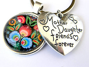 Kľúčenky - den matiek folk mama a dcera klucenka - 9487545_
