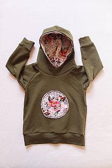 Detské oblečenie - Detská mikina s kapucňou Ružový kvet, 0-6 rokov (12-18 mesiacov (86)) - 9487118_