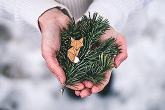 Odznaky/Brošne - Drevená brošna - Dear fox - 9487147_