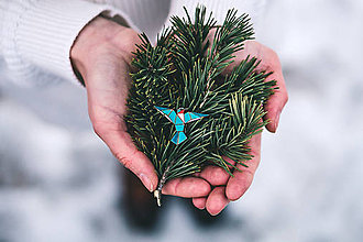 Odznaky/Brošne - Drevená brošna - Dear hummingbird blue - 9487160_
