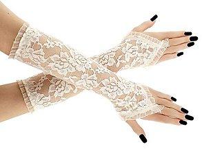 Rukavice - Rukavice čipkové svadobné ivory 0027 (XS - Biela) - 9487839_