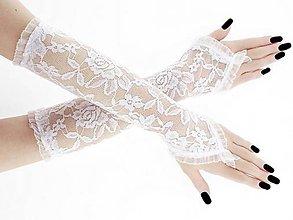 Rukavice - Rukavice čipkové svadobné bielé 0026 - 9487864_