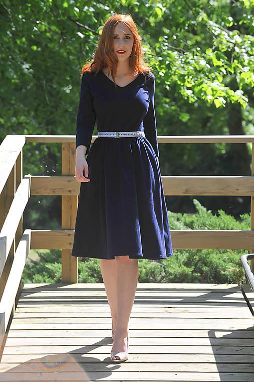 Retro šaty - tmavo modré   indiva - SAShE.sk - Handmade Šaty e44a079c8ab