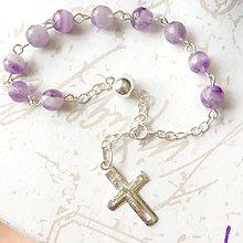 Náramky - Rosary Silver AG925 Amethyst Bracelet / Strieborný ruženec na ruku alebo do auta s ametystom /A0027 - 9489664_