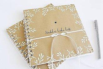 Papiernictvo - Svadobná kniha hostí - NATUR 20x20 - 9491040_