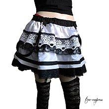 Sukne - Rocková čierno biela sukňa - 9490958_