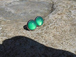 Náušnice - brincos com calcedona verde - 9491652_