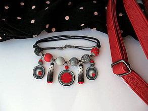 Náhrdelníky - ,,Červený grey,, - 9490045_