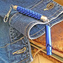 Iné - kľúčenka s píšťalkou modrá - 9490982_