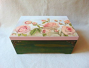 Krabičky - Drevená truhlička Z ružovej záhrady - 9489143_
