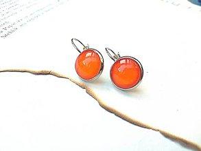 Náušnice - Visiace náušnice s oranžovými kamienkami - 9489237_