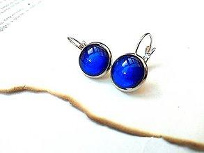 Náušnice - Visiace náušnice s modrými kamienkami - 9489349_