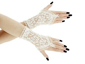 Rukavice - Rukavice čipkové svadobné ivory 065 - 9491703_