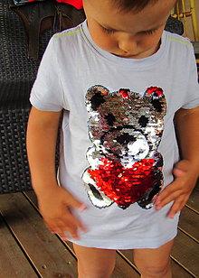 Detské oblečenie - Tričko s mackom - otáčavé flitre, flitrové tričko - 9491777_