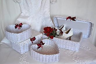 Košíky - Svadobný set bordó KI-KA - 9489770_
