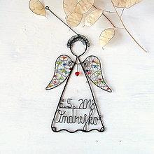 Detské doplnky - anjelik s menom a dátumom narodenia - 9494175_
