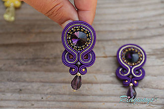 Náušnice - Simple teardrop...soutache (Violet/Gold) - 9492133_