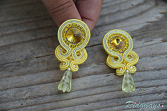 Náušnice - Simple teardrop...soutache (Yellow/Silver) - 9494781_