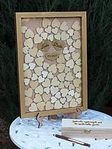 Obrázky - Svadobný rám so srdiečkami zlatý - 9494828_