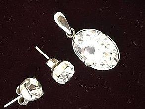 Sady šperkov - Súprava 925 Swarovski Crystal Clear - 9493284_