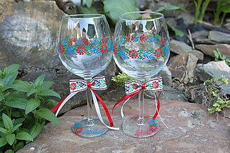 Nádoby - Krojované svadobné poháre na víno - 9493759_